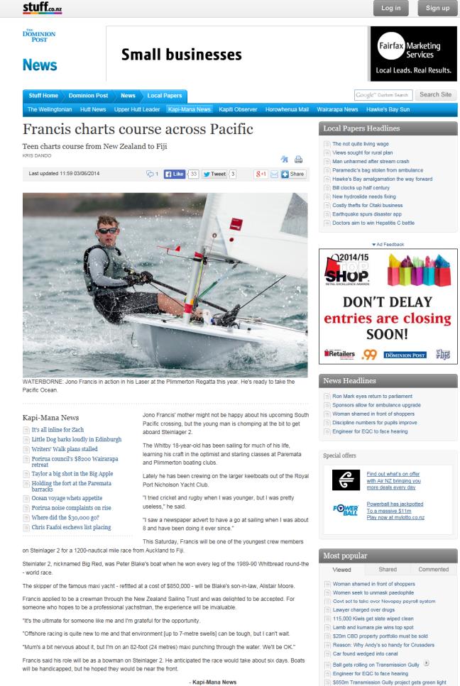 Jono Francis on Stuff.co.nz 3 June 2014