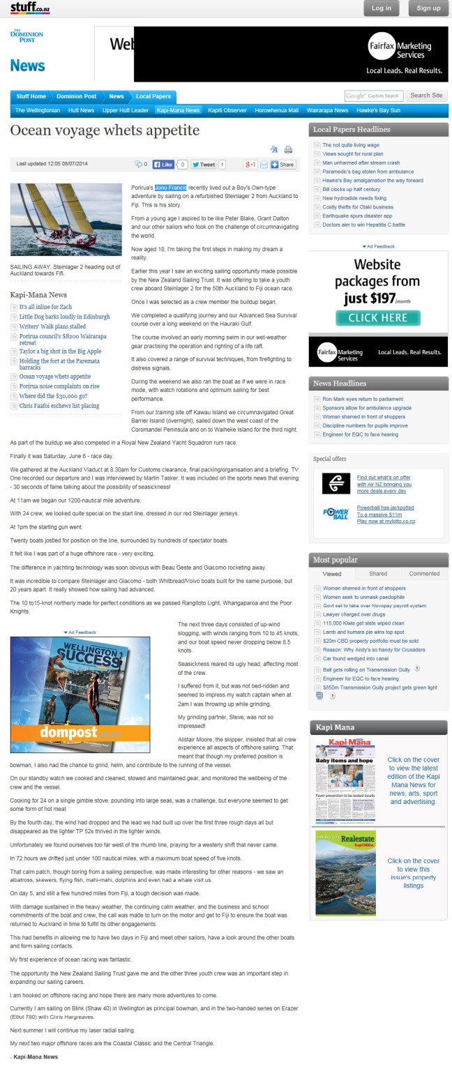 Jono Francis on Stuff.co.nz 8 July 2014