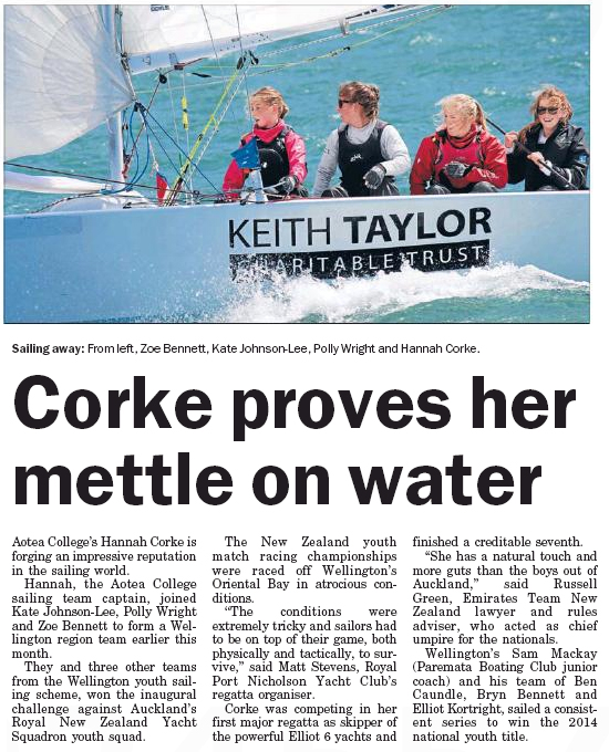 Kapi-Mana News 14 Oct Cork proves her mettle on water